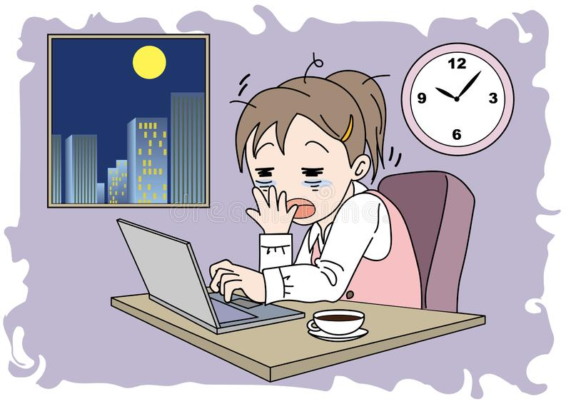 Nadgodzinowa wizerunek kobieta - śpiąca ilustracja wektor
