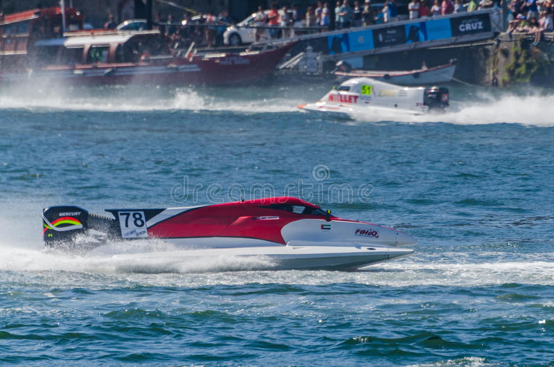 Nadir Bin Hendi (ARE). PORTO, PORTUGAL - AUGUST 1, 2015: Nadir Bin Hendi (ARE) during the U.I.M. F1H2O World Championship in Porto, Portugal royalty free stock images