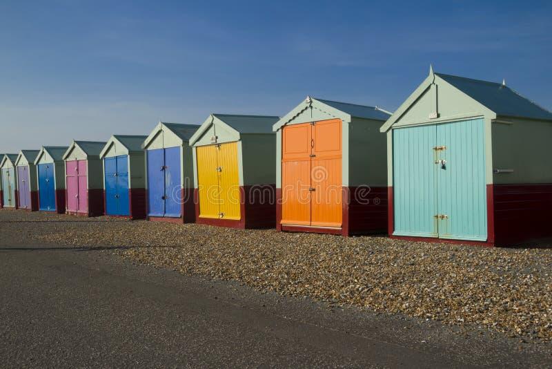 Nadmorski plażowe budy zdjęcia royalty free