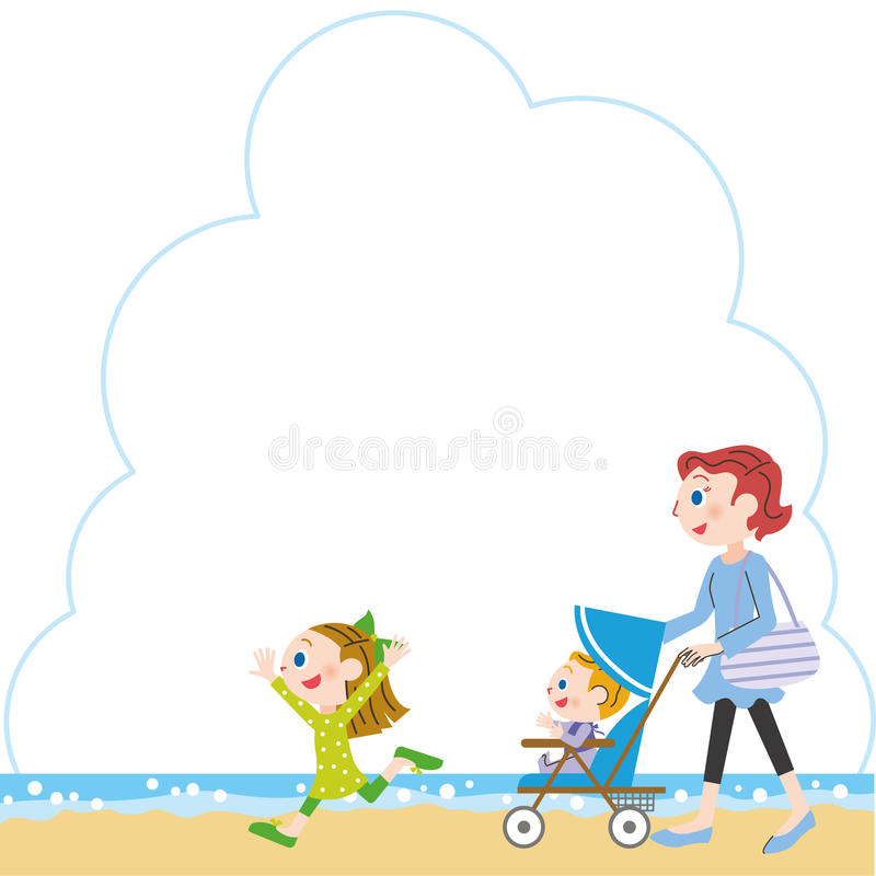 Nadmorski, rodzic i dziecko royalty ilustracja