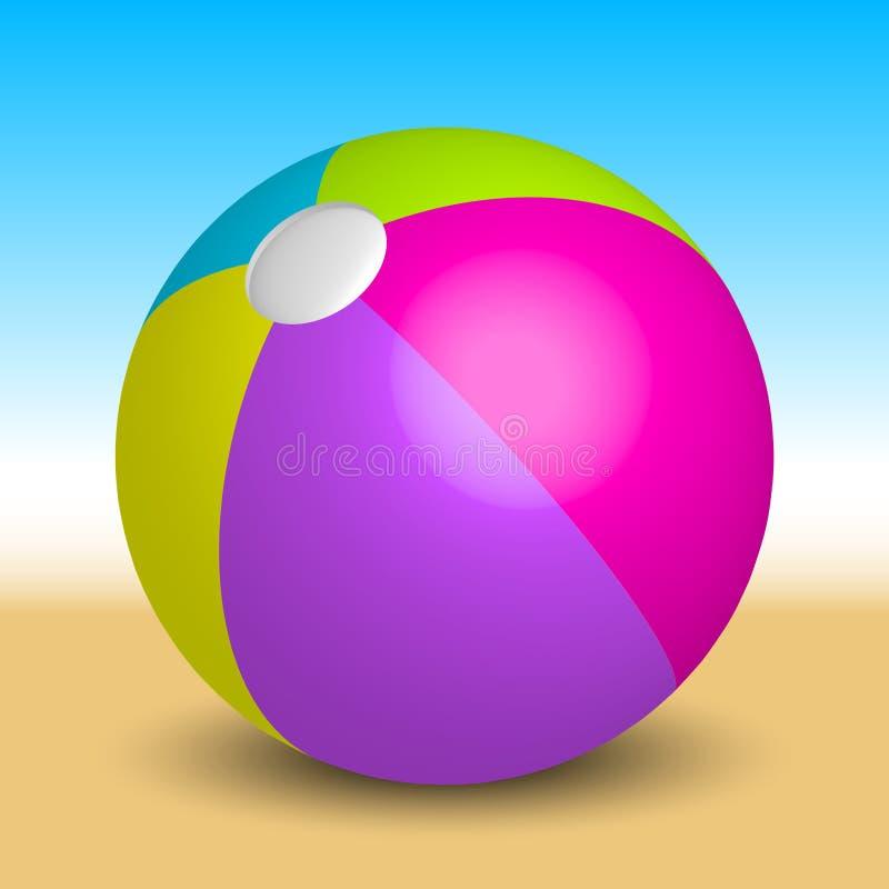 Nadmuchiwana plażowa piłka na plaży ilustracja wektor
