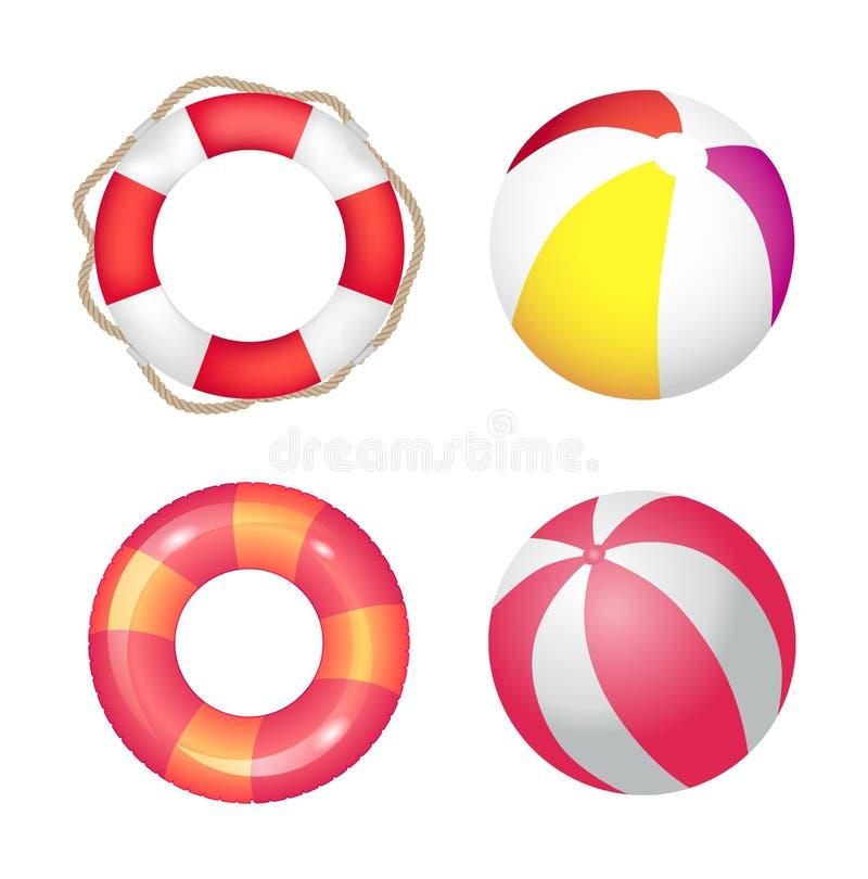 Nadmuchiwanego pierścionku i Plażowej piłki Ustalony Wektorowy sztandar ilustracja wektor
