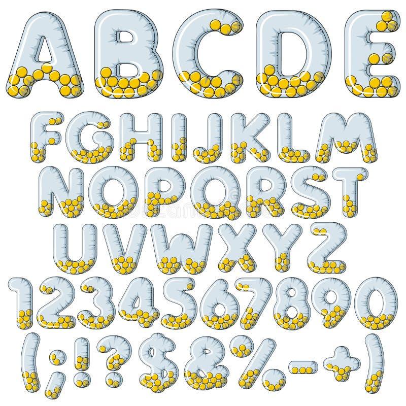 Nadmuchiwany abecadło, pisze list, liczby i znaki z piłkami Set barwiony wektor odizolowywający przedmioty royalty ilustracja