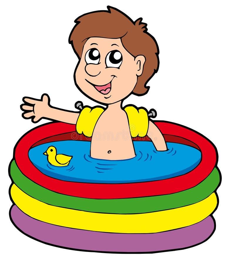 nadmuchiwany chłopiec basen ilustracja wektor