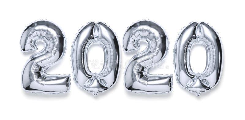 2020 nadmuchiwanych srebrzystych liczb z cieniem na białym odosobnionym tle Nowy rok zimy dekoracja, wakacyjny symbol, partyjna r zdjęcia stock