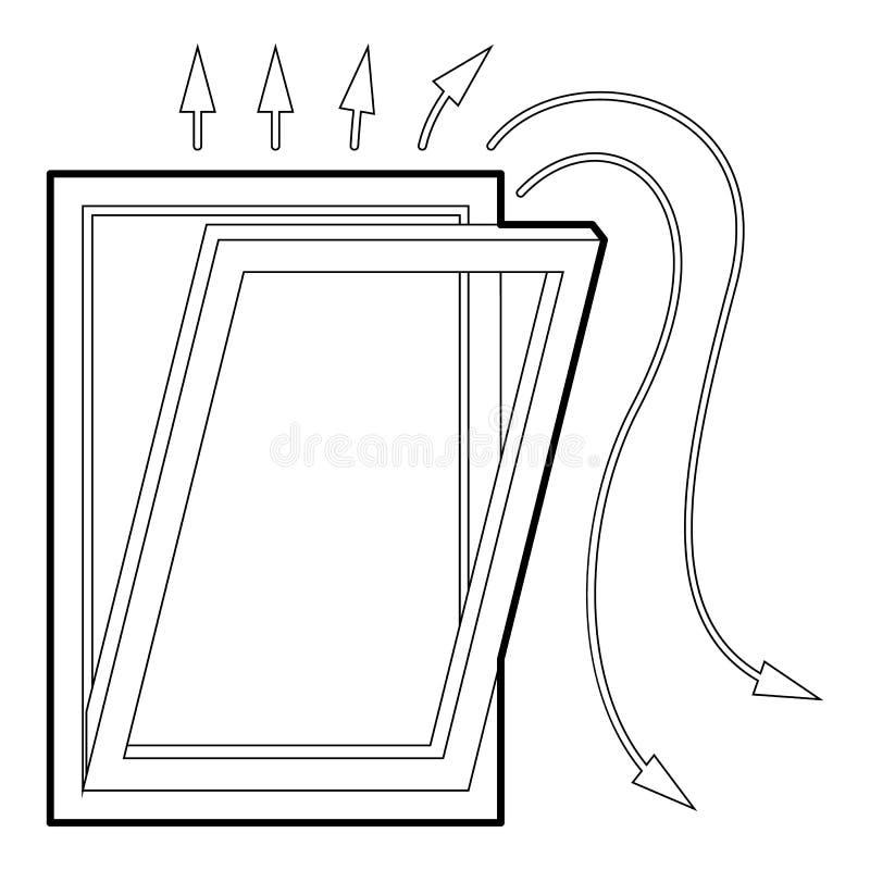 Nadokienna wentylaci ikona, konturu styl royalty ilustracja