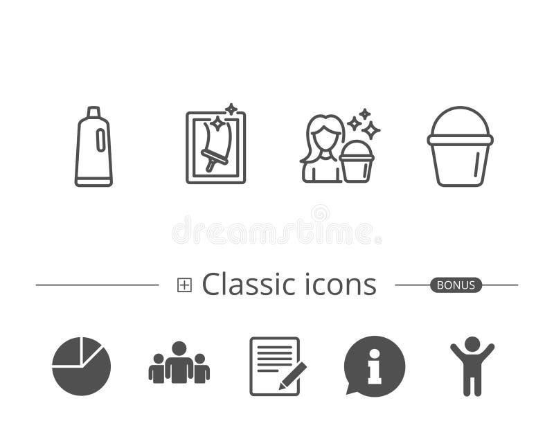 Nadokiennego Cleaning, szamponu i gosposi wyposażenie, ilustracja wektor