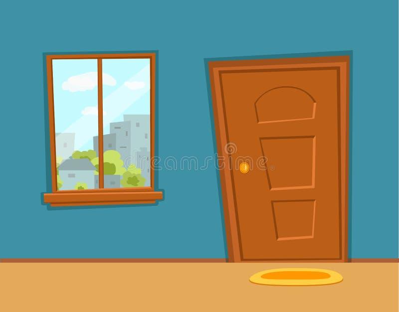 Nadokiennej i drzwiowej kresk?wki kolorowa wektorowa ilustracja z miastowym miasto architektury budynk?w krajobrazem ilustracji