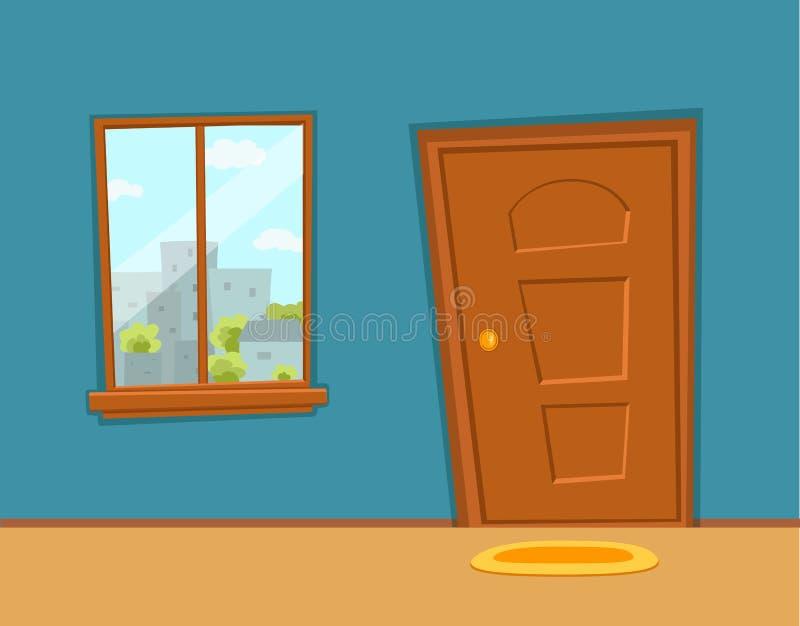 Nadokiennej i drzwiowej kresk?wki kolorowa wektorowa ilustracja z miastowym miasto architektury budynk?w krajobrazem ilustracja wektor
