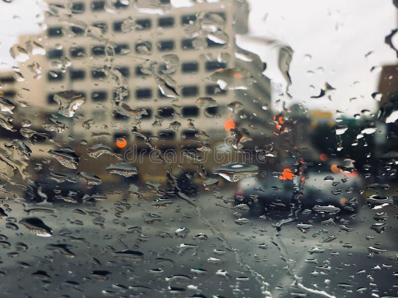 Nadokienni raindrops obraz stock