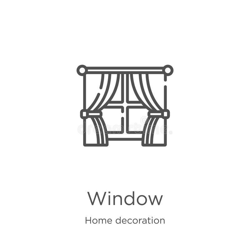 nadokienny ikona wektor od domowej dekoracji kolekcji r Kontur, cienieje kreskowego okno royalty ilustracja