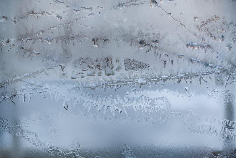 Nadokienny szkło z topić mroźnego wzór zdjęcie royalty free