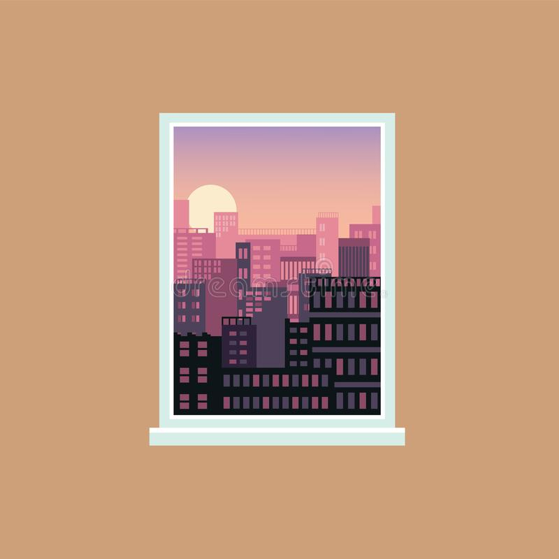 Nadokienny widok zmierzch nad nowożytnym miastem, miastową architekturą i domowymi powierzchowność widzieć z wewnątrz pokoju, ilustracji