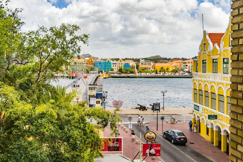 Nadokienny widoku puszek Punda nabrzeża Curacao widoki obrazy royalty free