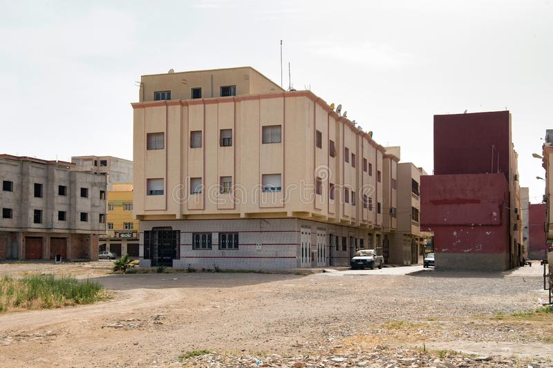 NADOR, MOROCCO - MAY 22, 2017: New residential houses and buildings under construction in center of Nador. Is a coastal city and. Provincial capital in the stock images
