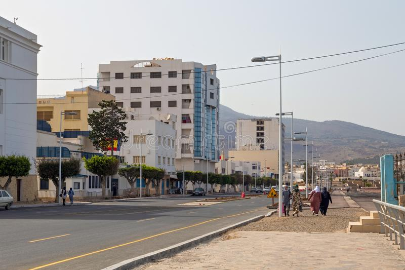 NADOR, MOROCCO - MAY 22, 2017: Old buildings in center of Nador. Is a coastal city in the northeastern Rif region in Morocco. It. Is separated from the royalty free stock photos