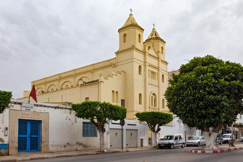 NADOR, MOROCCO - MAY 22, 2017: View of the roman-catholic Santiago el mayor de Nador church in historical center of town. The. Church was built by spaniards in stock images