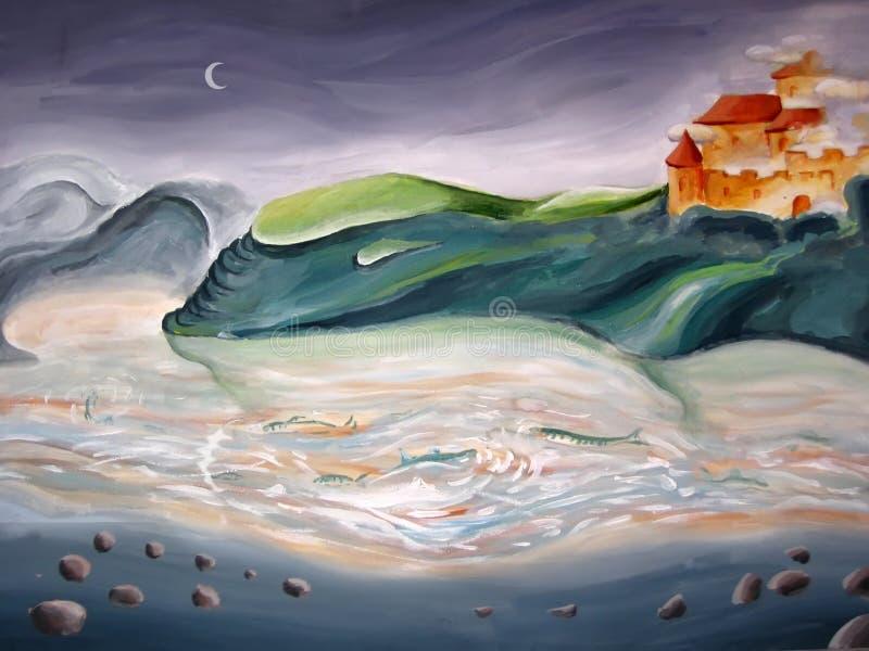 nadrealistyczny krajobrazu ilustracja wektor