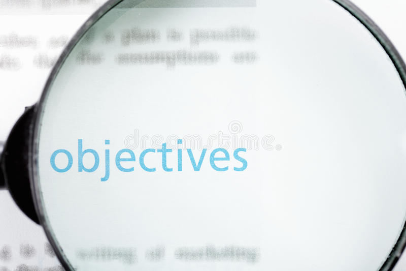 Nadruk op doelstellingen stock foto