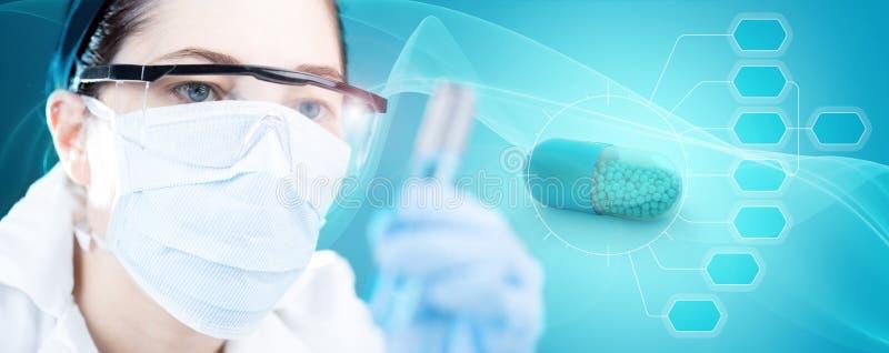 Nadruk op farmaceutisch onderzoekconcept vector illustratie