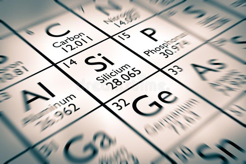 Nadruk op silicium chemische elementen royalty-vrije stock foto