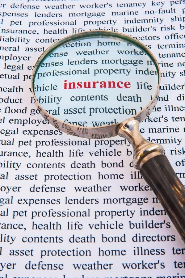 Nadruk op verzekering royalty-vrije stock afbeelding