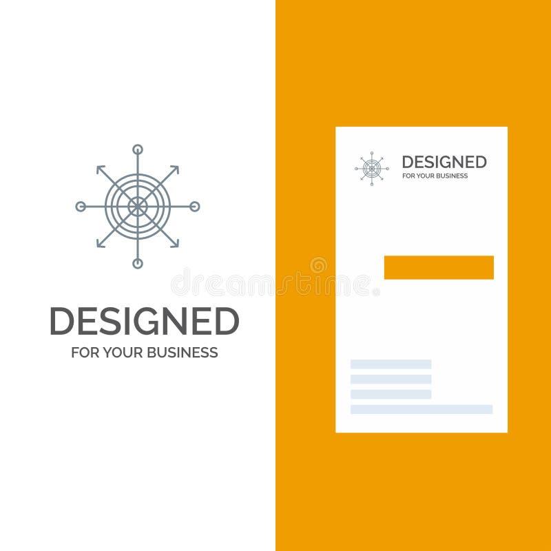 Nadruk, Raad, Pijltje, Pijl, Doel Grey Logo Design en Visitekaartjemalplaatje vector illustratie