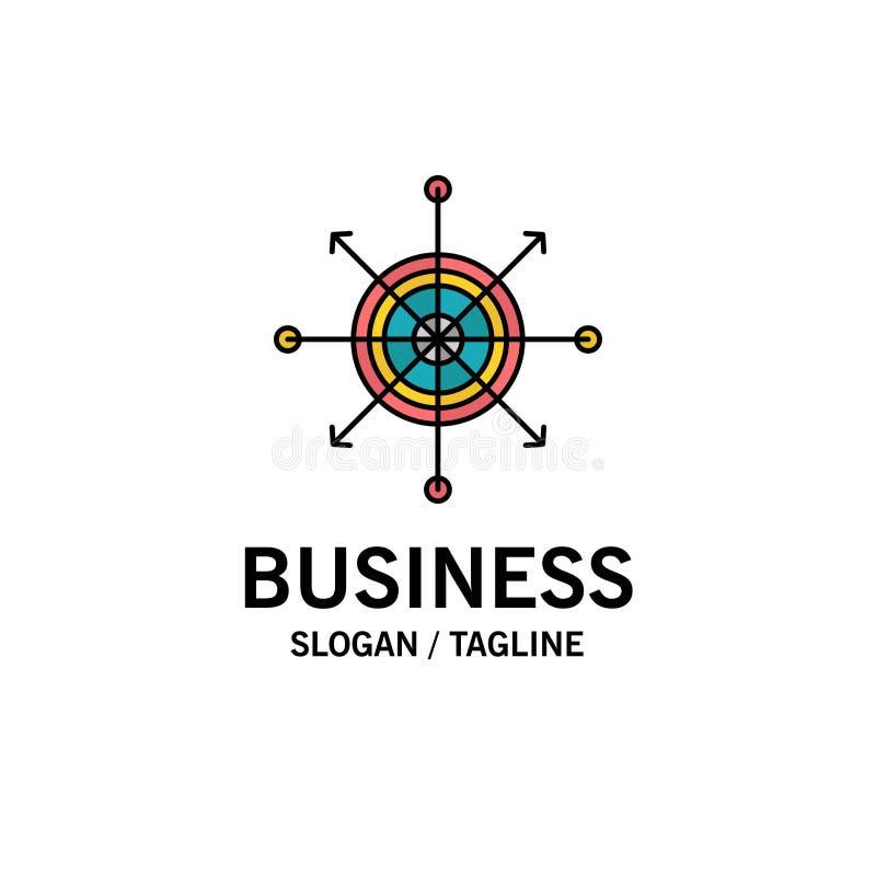 Nadruk, Raad, Pijltje, Pijl, Doelzaken Logo Template vlakke kleur stock illustratie