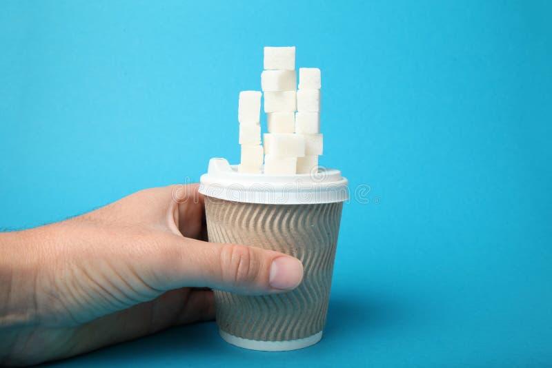 Nadu?ycie cukier w kawie i herbacie Cukrzyce obrazy stock