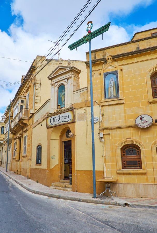Nadur村庄,戈佐岛,马耳他街道  免版税图库摄影