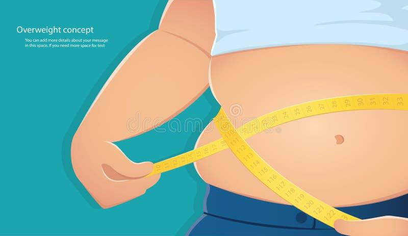 Nadwaga, gruba osoba używa skalę mierzyć jego talię z błękitnego tła wektorową ilustracją eps10 ilustracja wektor