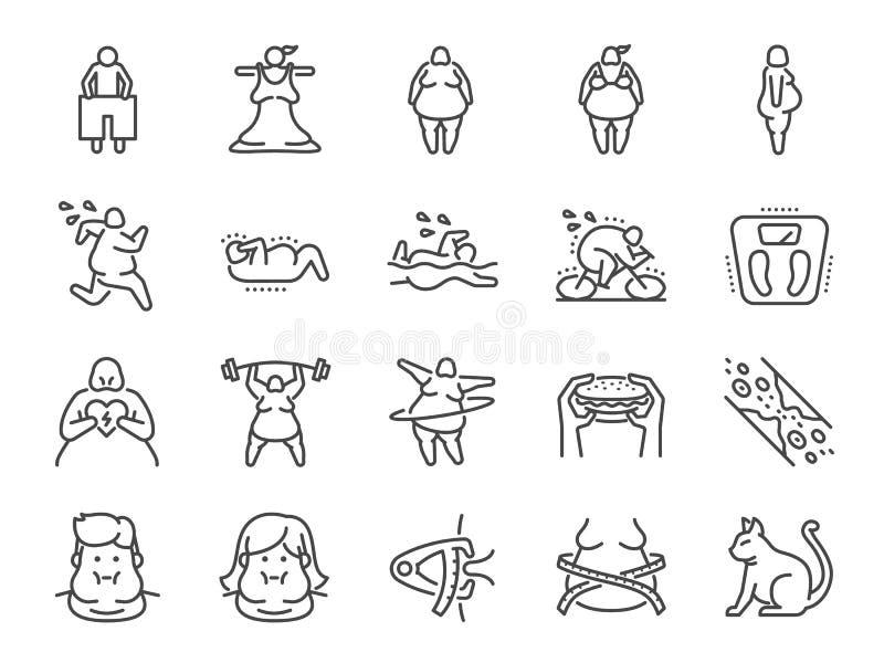 Nadwagi ikony kreskowy set Zawrzeć ikony ćwiczy, skale i więcej gdy sadło, cholesterol, gubi ciężar, royalty ilustracja