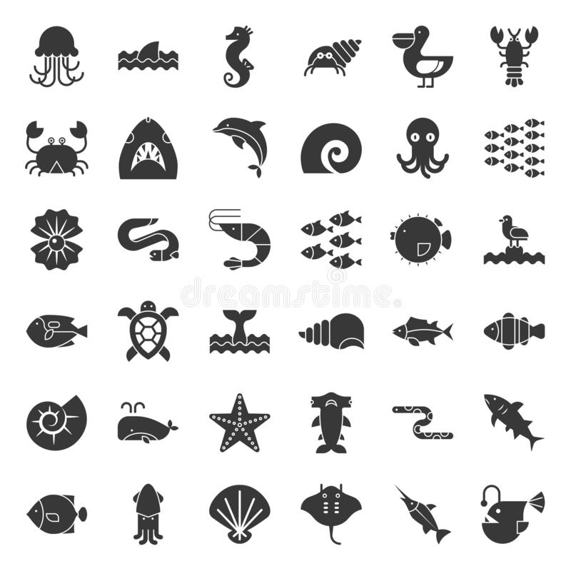 Nadwodny oceanu życie tak jak ośmiornica, skorupa, pelikan, stado ryba, royalty ilustracja