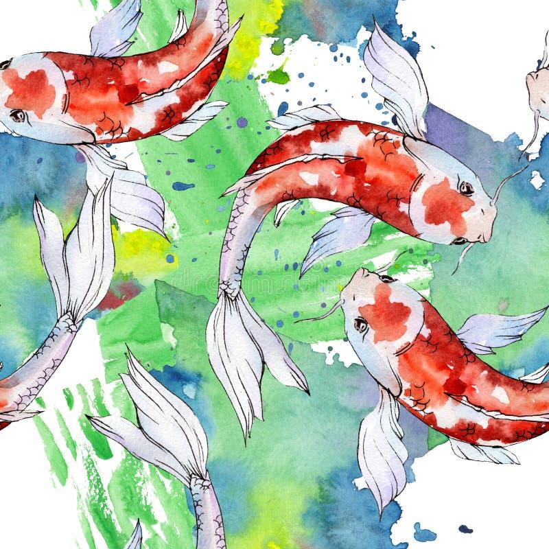 Nadwodny podwodny kolorowy tropikalny goldfish set Akwareli t?a ilustracji set Bezszwowy t?o wz?r ilustracji