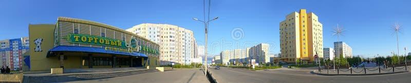 Nadym, Rusia - 10 de julio de 2008: el panorama El paisaje urbano imagenes de archivo