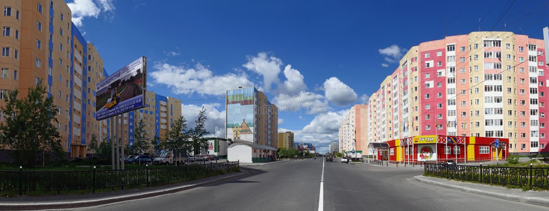 Nadym, Rusia - 10 de julio de 2008: el panorama El paisaje urbano fotos de archivo libres de regalías