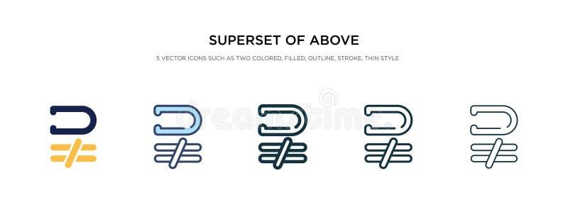 Nadzbiór powyżej nie jest równy ikonom na ilustracji wektora stylu dwa kolorowe i czarne nakładki powyżej nie równe ilustracji
