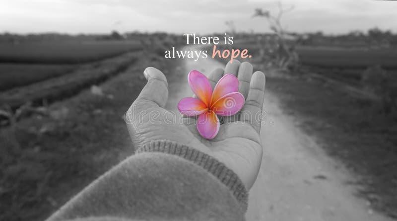 Nadziei inspiracyjna motywacyjna wycena - Tam jest zawsze nadzieja Z jeden ludzką ręką i wiejskim widoku tłem w czarny i biały obrazy royalty free