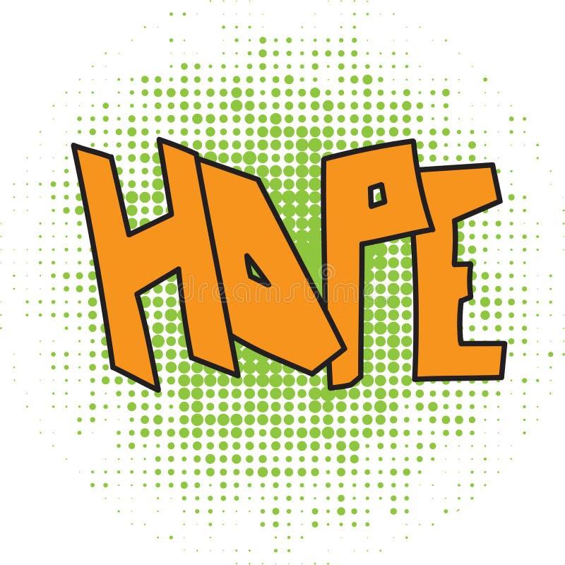 Nadziei komiczny słowo ilustracja wektor