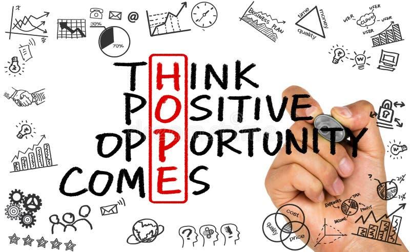 Nadziei pojęcie: myśli sposobności pozytywny komes ilustracja wektor