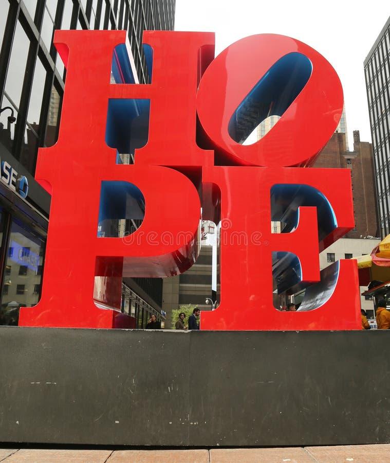 NADZIEI rzeźba Robert Indiana w środku miasta Manhattan fotografia royalty free