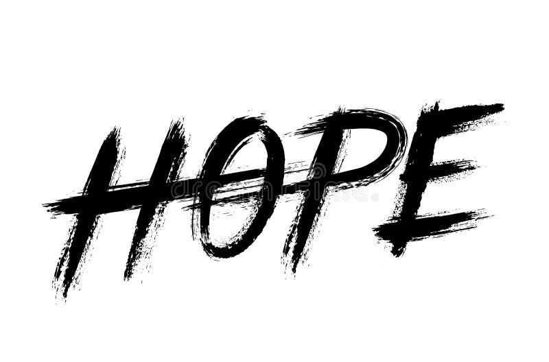 Nadzieja Pisze list Grunge muśnięcia uderzeń słowo ilustracja wektor