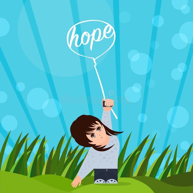Nadzieja promienieje ja up ilustracja wektor
