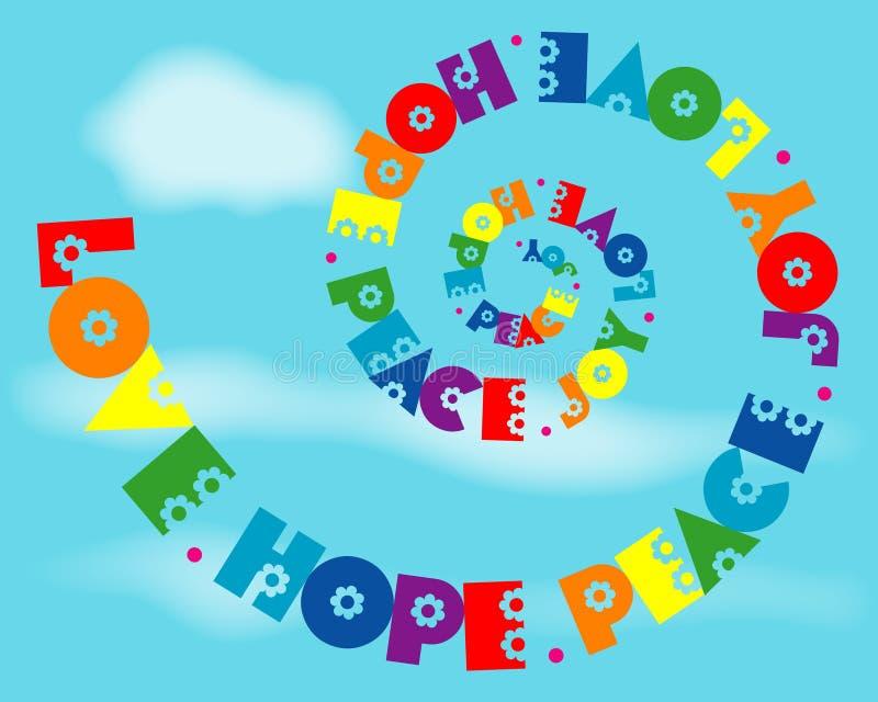 nadzieja radości miłości pokoju tęczy spirala royalty ilustracja