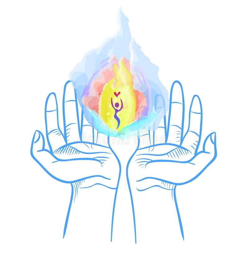 Nadziemski ogień w rękach royalty ilustracja