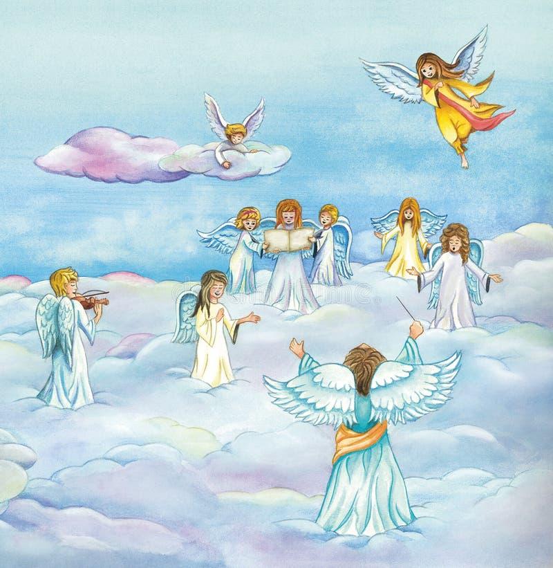 Nadziemskich aniołów chórowy śpiew w niebie ilustracja wektor