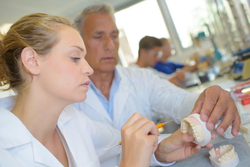 Nadzorca sprawdza praca stomatologicznego technika zdjęcie stock