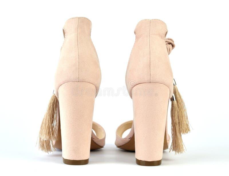 Nadzy spojrzenie Romańskiego stylu heeled sandały fotografia stock