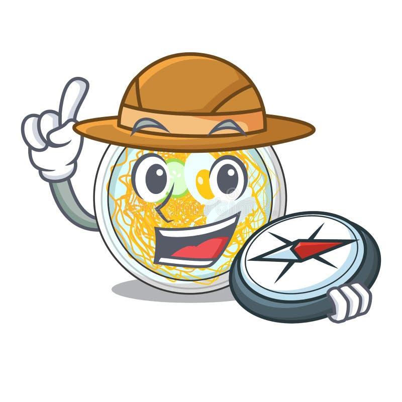Naengmyeon do explorador isolado com no caráter ilustração stock
