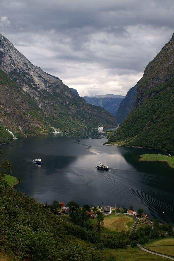 Naerøyfjord, Noruega fotografia de stock